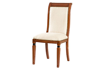 Upholstered dining chair harp